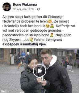 """Kunstzinnige Randjes: Facebookpost """"Chineesje"""" van Rene Watzema"""