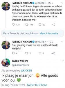 Kunstzinnige Randjes: Tweets tussen Patrick Kicken en Guido Weijers